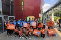 Tour de Singapore riders celebrating end of race